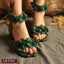 <b>Artmu Original</b> Summer <b>Flowers</b> Leather Sandals Comfortable Flat ...