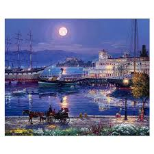<b>RIHE Night Harbor Diy</b> Painting By Numbers Moon Carriage Oil ...