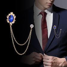 Temperament Gemstone Tassel Chain <b>Brooch Personality</b> Versatile ...