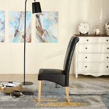 Furniture Faux Leather Roll <b>Top Dinner</b> Wooden Chair Set ...
