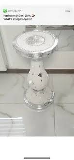 Home, Furniture & DIY Silver and White Mirrored <b>Mosaic Side Table</b> ...