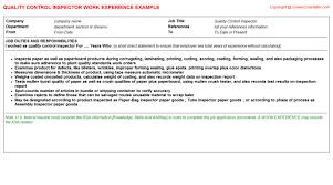 quality technician cv work experience   quality control inspector