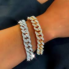 <b>New Fashion Luxury</b> 12mm Iced Out Cuban Link Chain Bracelet for ...