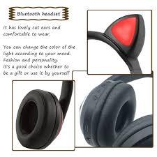 <b>Wireless Bluetooth Cat Ear Headphone</b> 7 Colors LED Light <b>Flashing</b> ...