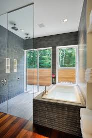 stylish bathroom in gray tiles interior nuance with squared bathtub and shower with transparent glass wall bathroom incredible white bathroom interior nuance