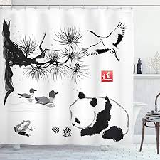 EdCott Bird cedar <b>panda</b> bear Japanese traditional painting style art ...