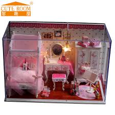 2016 hot sale decoration crafts diy doll house wooden houses miniature dollhouse furniture kit room led building doll furniture