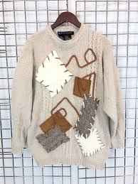 IB Diffusion <b>Seda</b> Patchwork <b>Light Beige</b> Angora Sweater | Etsy