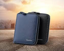 <b>WILLIAMPOLO 2019</b> Fashion <b>100</b>% Leather Zipper Small Wallet ...