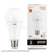 <b>Лампа Gauss</b> LED Elementary A67 30W E27 3000K (<b>73219</b> ...