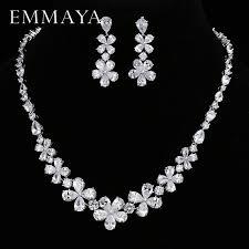 <b>EMMAYA</b> New Flower Jewelry Set Silver Color <b>Austrian Crystal</b> Cz ...
