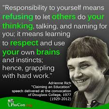 Critical Thinking Quote: Adrienne Rich - ProCon.org via Relatably.com