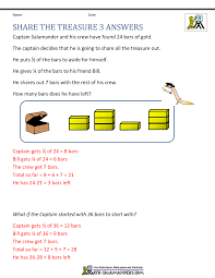 rd grade math problems share the treasure 3