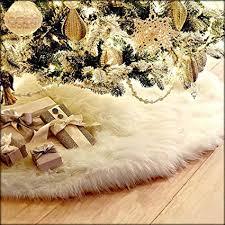 Guwheat Christmas Tree Skirts <b>White</b> Luxury Faux Fur Tree ...