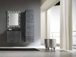 minimalist gray and white italian bathroom with gray textured cabinets and victorian mirror and gray wall bathroom bathroom furniture interior ideas mirrored wall