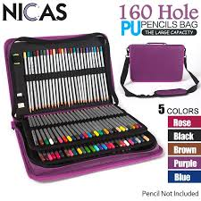 NICAS <b>160 Holes PU</b> Leather Kalem Kutusu Portable Color Pencil ...