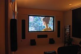 interior small movie room ideas simple wall lighting brown laminate flooring l shape grey sectional brown fabric lighting