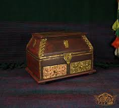 Indian <b>Wooden Treasure Chest</b> Jewelry Box with <b>2</b> Drawers - T.I.C. ...