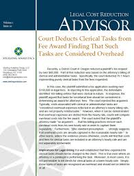sterling analytics – court deducts clerical tasks from fee award    orme v  burlington coat factory