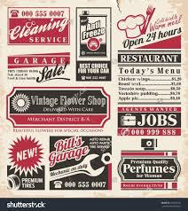 retro newspaper ads design template vector stock vector  retro newspaper ads design template vector collection of vintage advertisements old paper texture layout