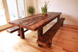 long wood dining table: make your own rustic wooden dining table cheap with bench diy long rectangle wooden dining