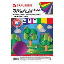 <b>Brauberg Цветная бумага</b> зеркальная самоклеящаяся А4 7 ...