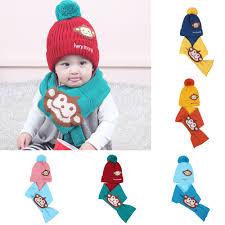 2Pcs Autumn Winter <b>Baby</b> Boys Girls Kids Cartoon Monkey Hat+ ...