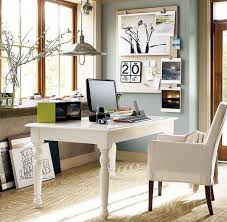 small spaces home office design with white white wooden desk and chairs with fabric cover plus low ceiling with hanging lamp brown carpet tiles and large best carpet for home office
