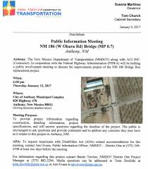 nmdot public information meeting nm project city of anthony nm