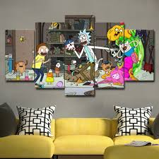 Photo Canvas Paint Modern <b>5 Pieces</b> Wall Art Rick And Morty ...