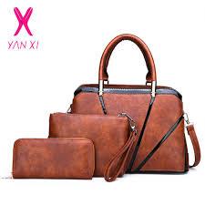<b>YANXI</b> Vintage <b>Women</b> Shoulder <b>Bags</b> Pu Leather 3 Pcs Composite ...