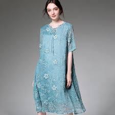 <b>Plus Size</b> V-Neck Lace Up <b>Embroidery Chiffon</b> Short Sleeve Dress ...