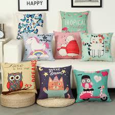 <b>RUBIHOME</b> Animal Cartoon Cat Owl Decorative Cushion Cover ...