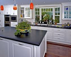 sink windows window love: bay window kitchen sink white cabinets dark countertops wooden flooring ceiling colour