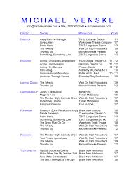 technical theatre college resume college resume  doc