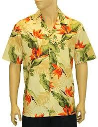 Yellow Bird of Paradise Hawaiian Aloha Shirt; Made in Hawaii ...