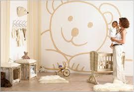 beautiful baby girl room design idea with white wall brown teddy bear motive light baby boy high baby nursery decor