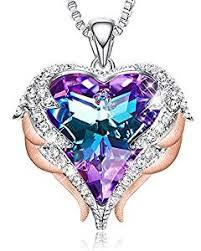 CDE 18K Rose Gold Women Necklace Heart Pendant ... - Amazon.com
