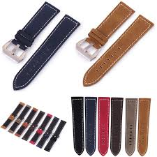New Black Brown Blue Red Retro <b>Matte</b> Leather Watch Band 18mm ...