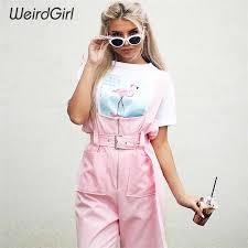 <b>Weirdgirl</b> Wide Leg Pants Shoulder Strapes <b>Zipper</b> Pockets Solid ...