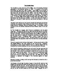 literature  essay on     the crucible       gcse english   marked by    literature  essay on     the crucible