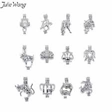 <b>Julie Wang 1PC</b> Zodiac Pick Your Sign Pendant Pearl Bead Cage ...