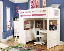 beautiful loft bed in pink and white with a desk underneath bed with office underneath