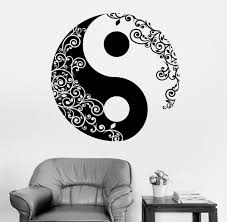 High Quality Vinyl Wall Sticker <b>Buddha</b> Yin Yang Floral Religion ...