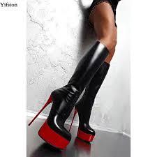<b>Yifsion New</b> Arrival Women Platform Mid Calf Boots Thin High Heels ...