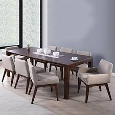 dining sets seater: arco leon  seater dining table set beige dark walnut finish