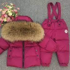 Russian Winter Real Fur Warm <b>Children</b> Clothing Sets Girls Down ...