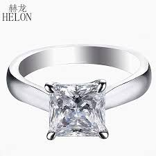 2019 <b>HELON</b> Solid 14K White Gold Princess Cut DEF Color ...