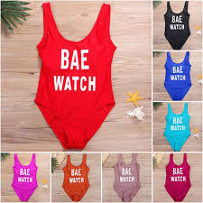 2019 <b>Classic BAE WATCH Letter</b> Print One Piece Suit Girl Swimsuit ...