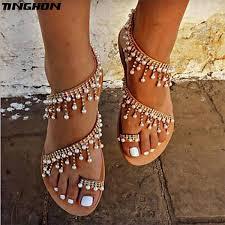 <b>TINGHON Summer</b> Women Shoes Sandals Pearl Beads Thong Flat ...